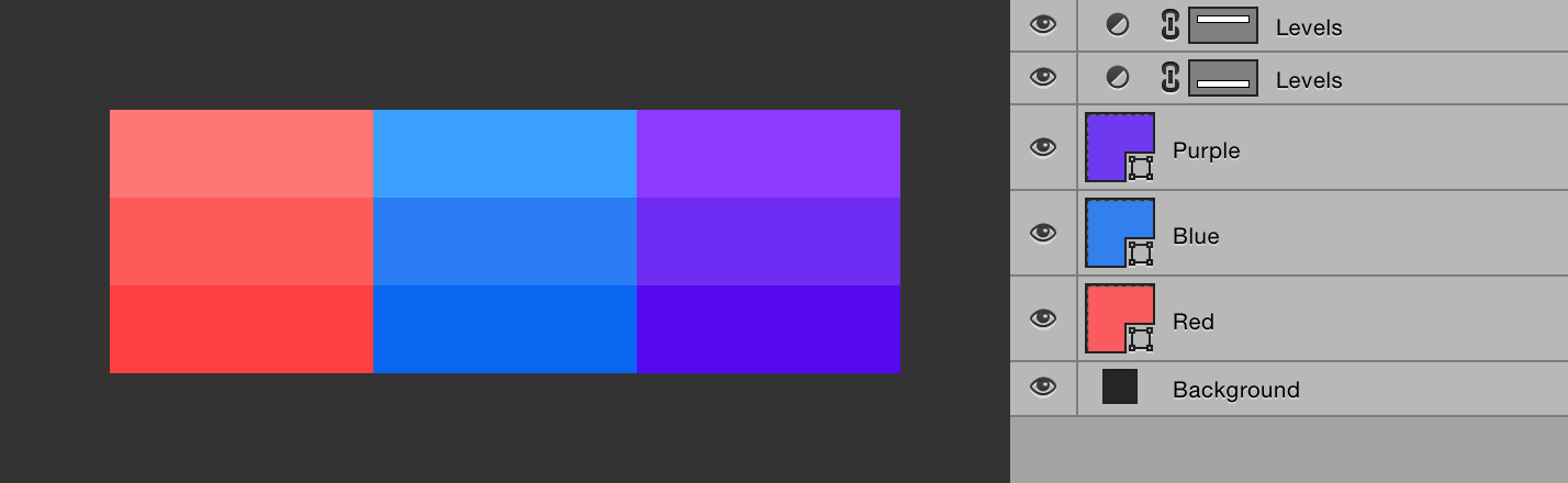 Creating color palettes with adjustment layers