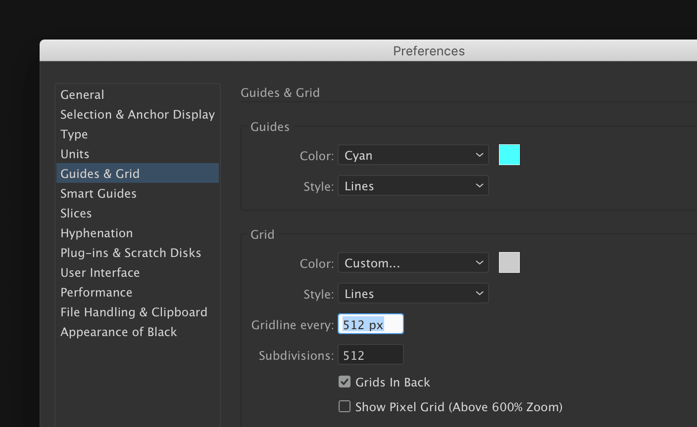 Illustrator's grid preferences
