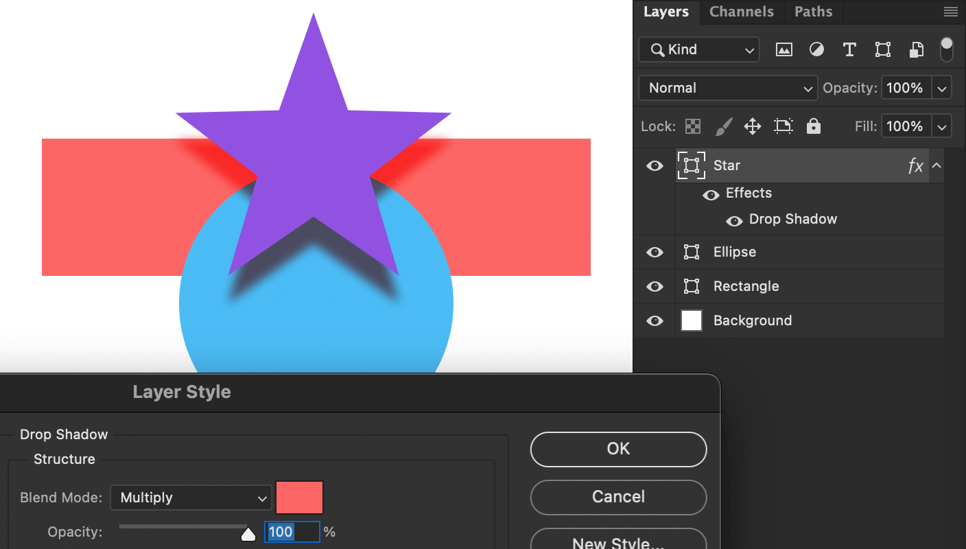 Photoshop showing a purple star with a red drop shadow