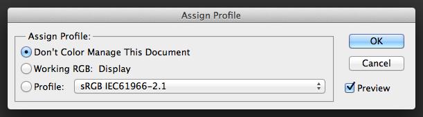 assignprofile Quản lý Màu sắc trên Photoshop