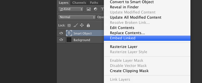 Smart Object embed Linked