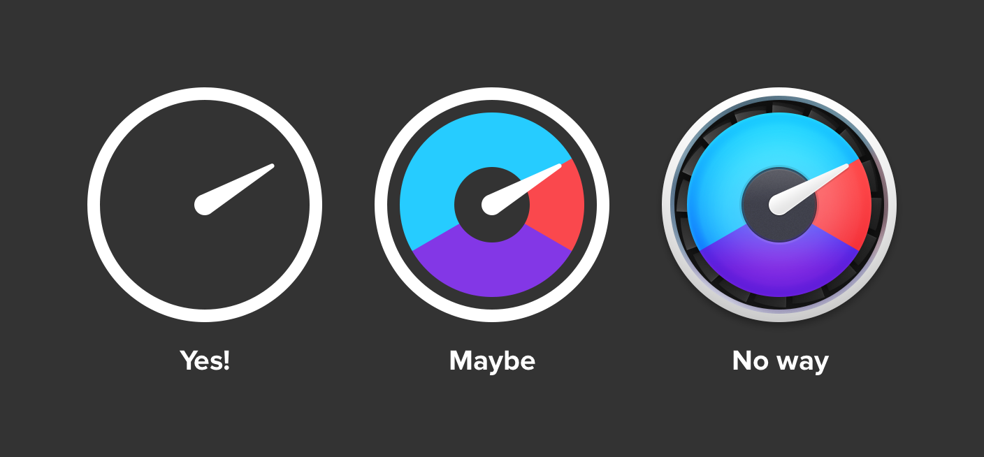 Three icons of varying complexity