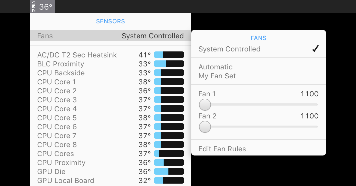 Using Fans in iStat Menus